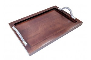 A RECTANGLE HANDLED SERVING TRAY